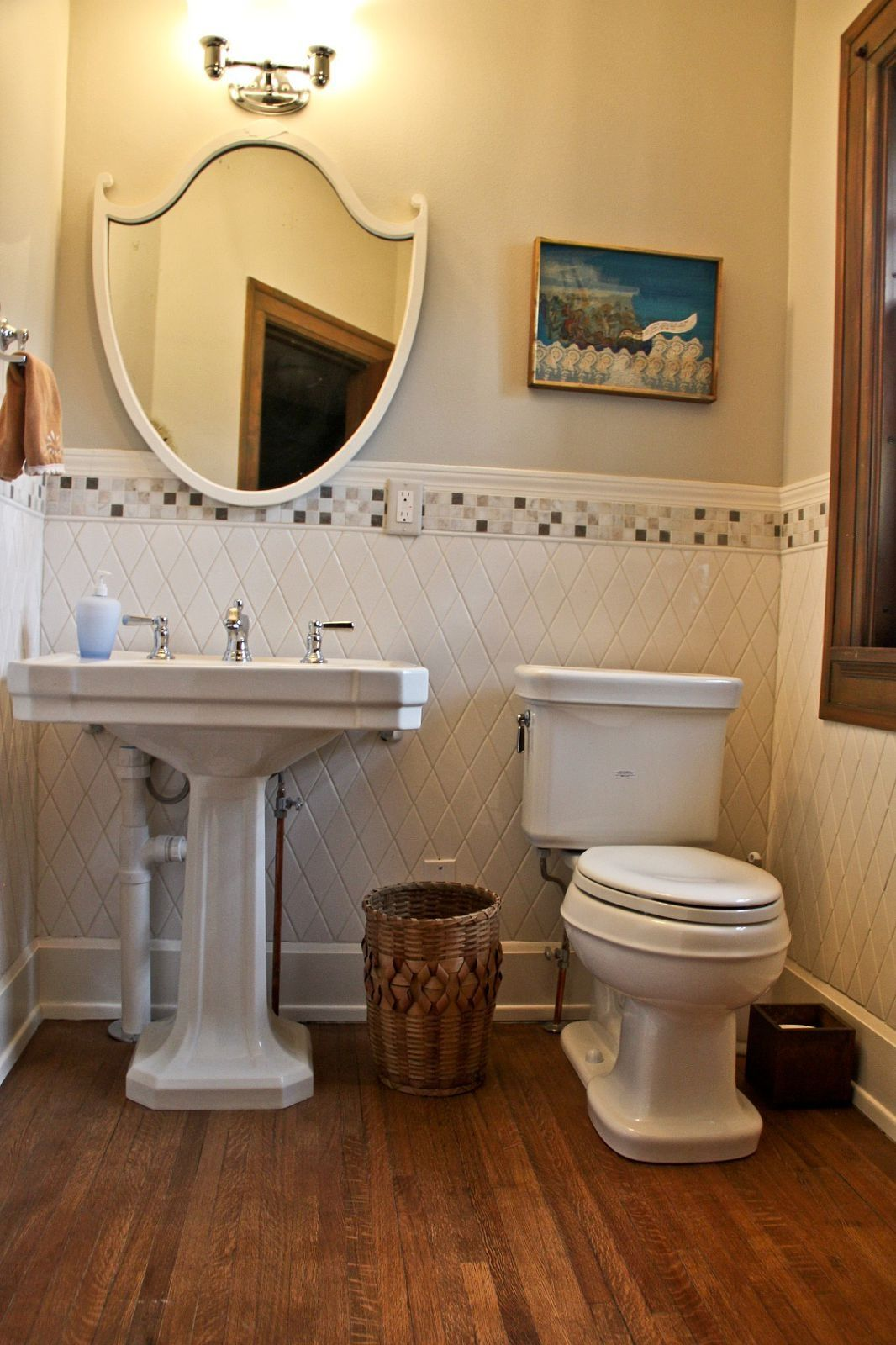 half bath tile on wall and wood floor  bathrooms remodel