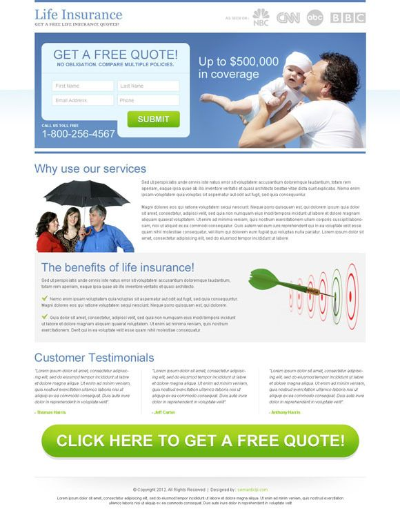 Medical and life insurance quote landing page designs by