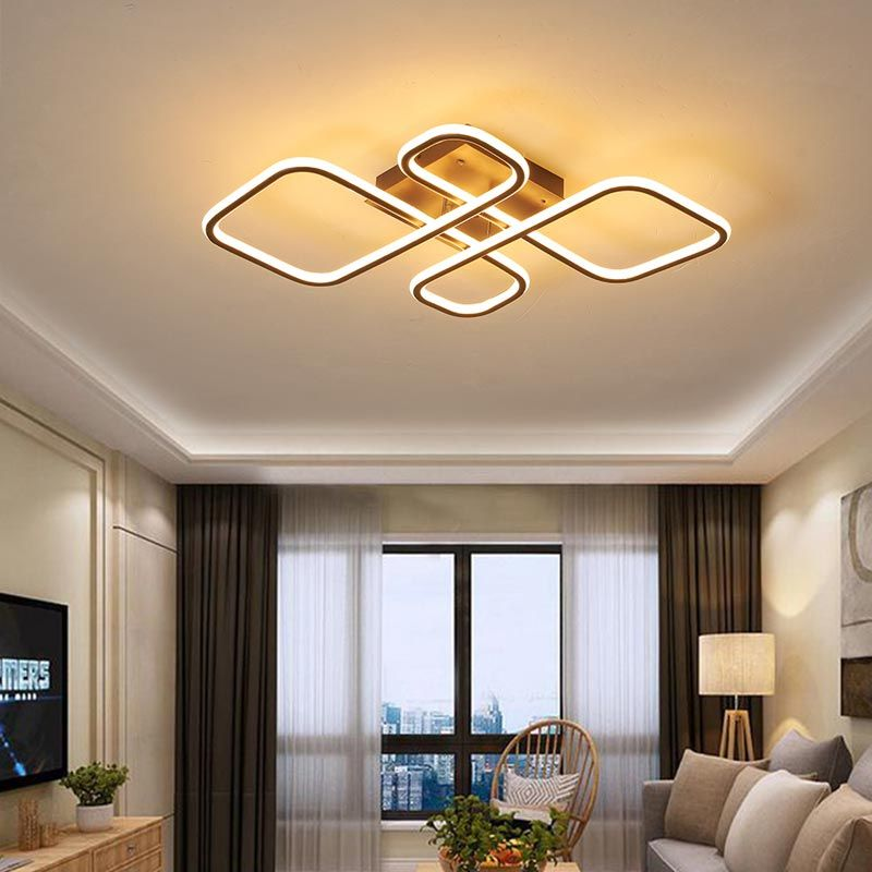 Plafonnier Led Losange En Aluminium Nordique Simple Pour Salon Chambre Plafonnier Led Eclairage Du Salon Plafonnier #simple #living #room #ceiling #lights