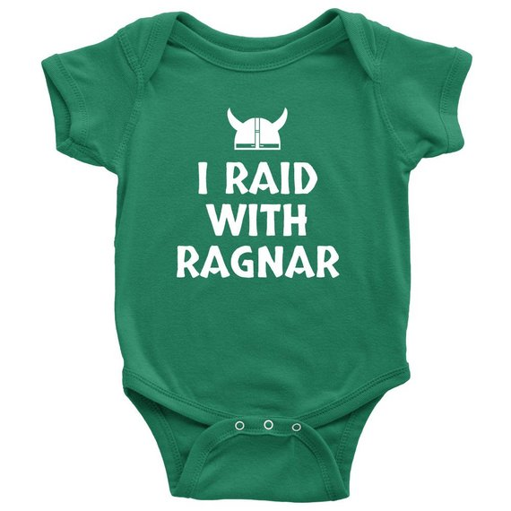 337226a17 Adorable Viking Baby One-piece - Cute Pagan Baby Shirt - I Raid With Ragnar  - First Birthday Or Baby