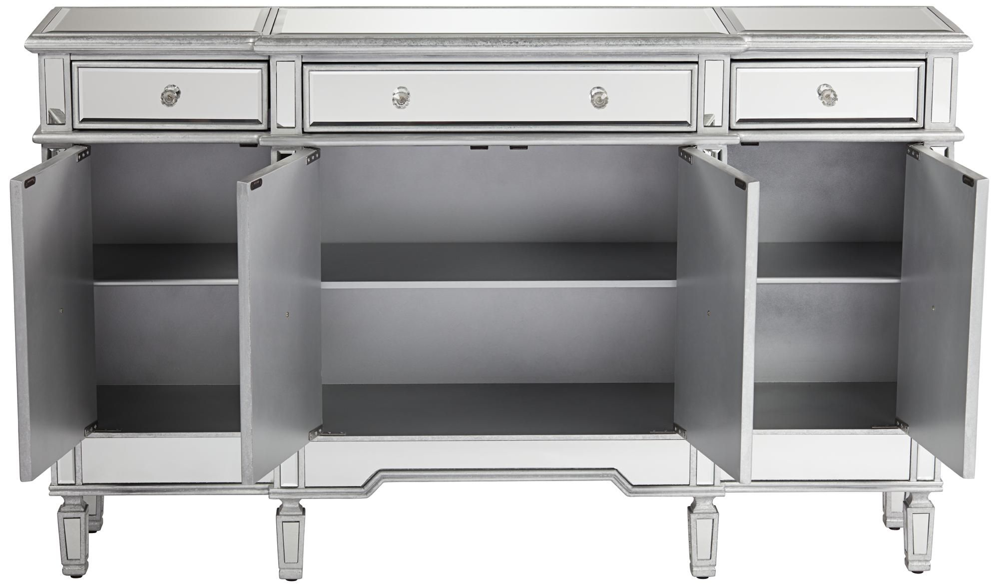 Cablanca 60 Wide 4 Door 3 Drawer Silver Mirrored Cabinet 13y06 Lamps Plus Mirror Cabinets Silver Mirrors Lamps Plus