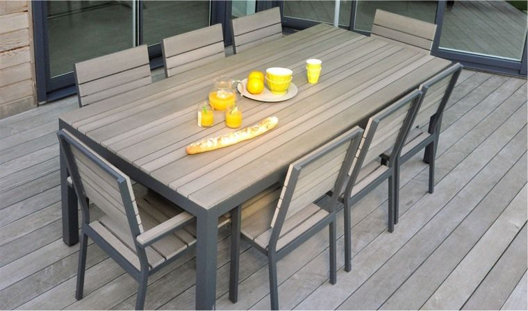 Salon de jardin brooklyn en bois composite brooklyn marque - Table salon de jardin alu et composite ...