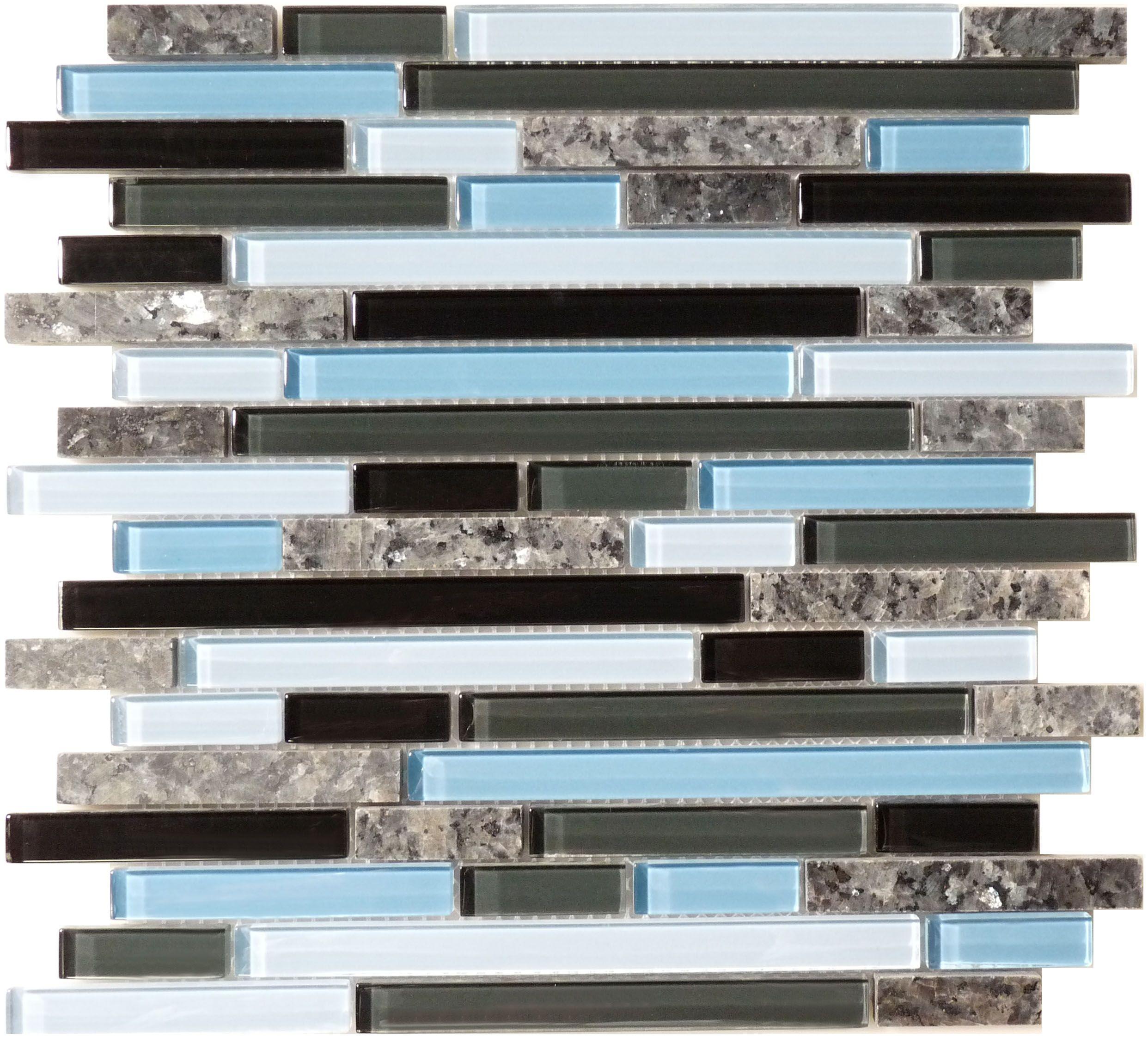 flicker tile random brick random bricks sky glossy blue glass and - Glass Tile Castle Ideas