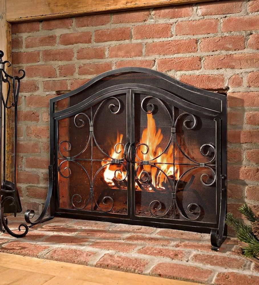 Fireplace Protective Screen With Doors Durable Wrought Iron Elegant Accent De Wrought Iron Fireplace Screen Rustic Fireplace Tools Fireplace Screens With Doors