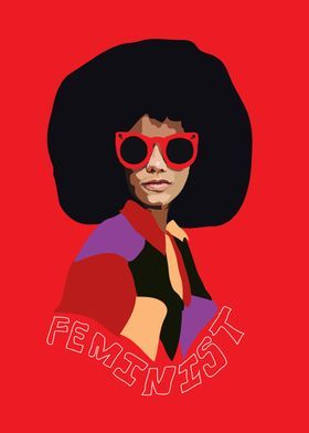 Feminism Feminist Black Afro African American Red 70S Vintage Politica