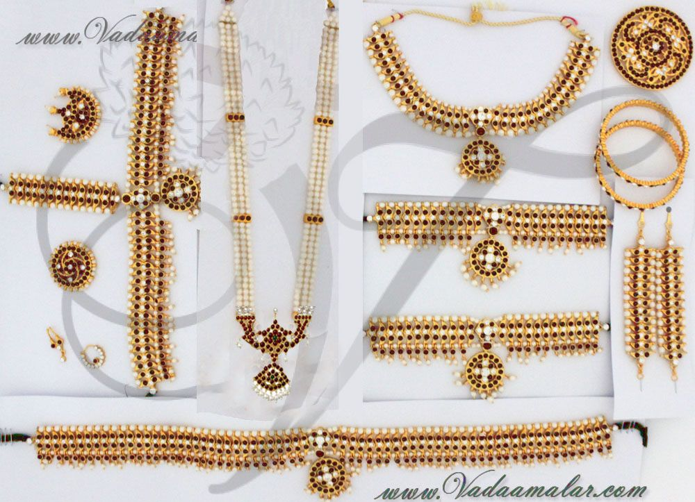 dee7beae07 Indian Bridal Jewellery Set Traditional 9 piece ornaments for Saree &  Lehenga. Kids size Bharatanatyam and Kuchipudi dance jewellery set.