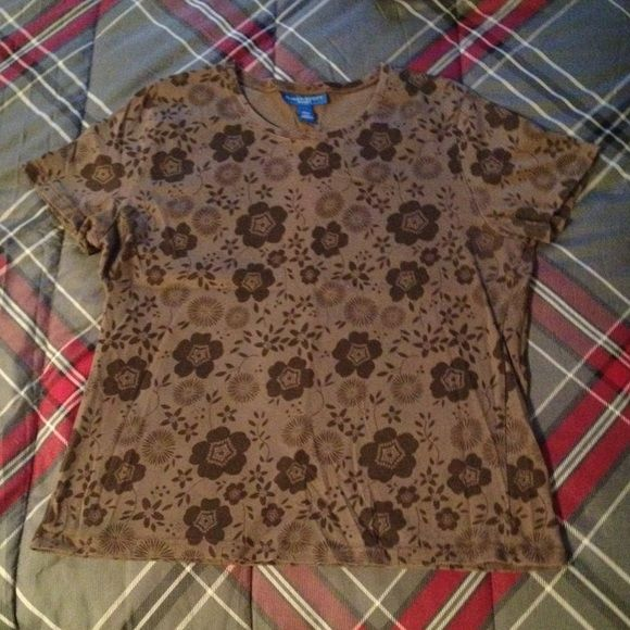 ▪️Floral T-Shirt▪️ Karen Scott Sport, Brown, Floral T-Shirt.  Excellent Condition.   100% Cotton Karen Scott Tops Tees - Short Sleeve