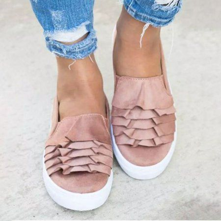 4063823b6 Shop Women's Shoes - Plus Size Women Daily Ruffles Slip On Loafers online.  Discover unique designers fashion at JustFashionNow.com.