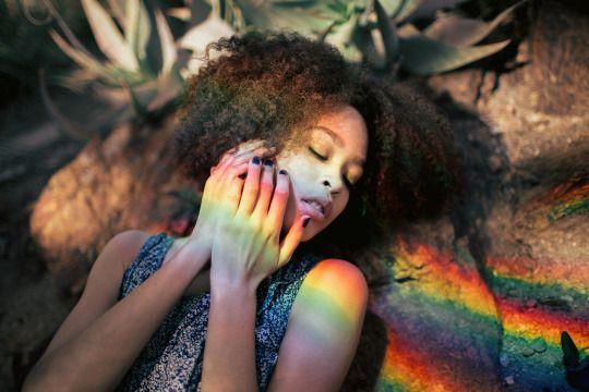 black girl curly hair rainbow