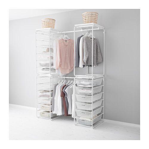 IKEA - ALGOT, Stel med stang/netkurve/tophylde, Delene i ALGOT serien kan kombineres på mange forskellige måder og kan…