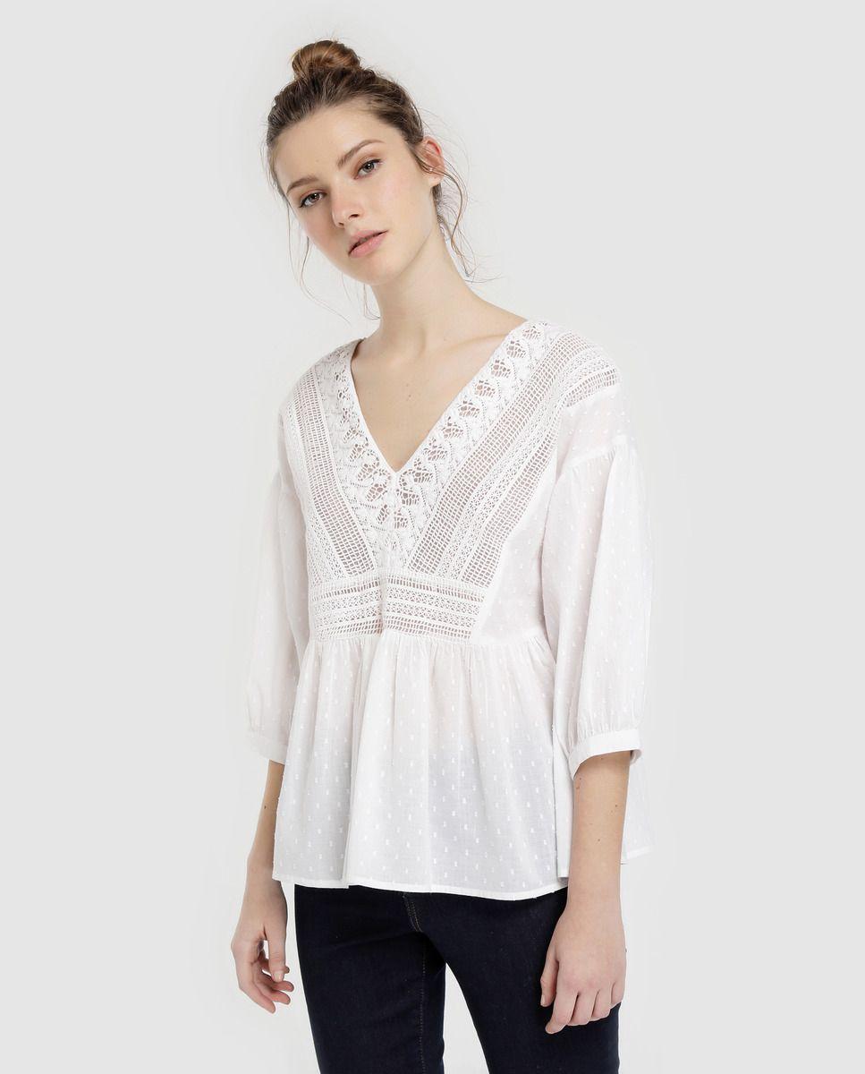 8dd5c86d6 Blusa de mujer blanca bordado · Tintoretto · Moda · El Corte Inglés