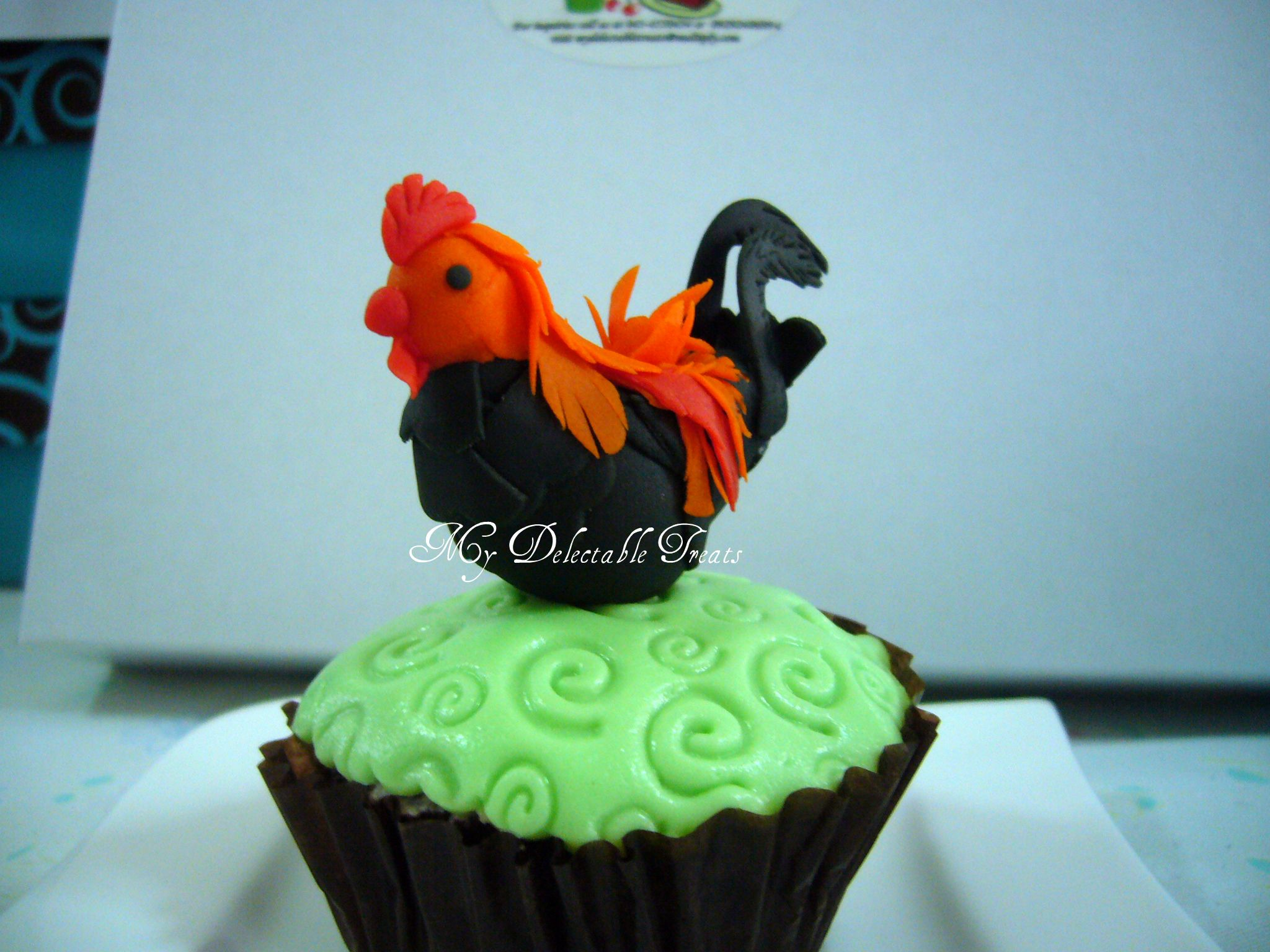 Gumpaste Rooster cupcake topper.   My Delectable Treats ...
