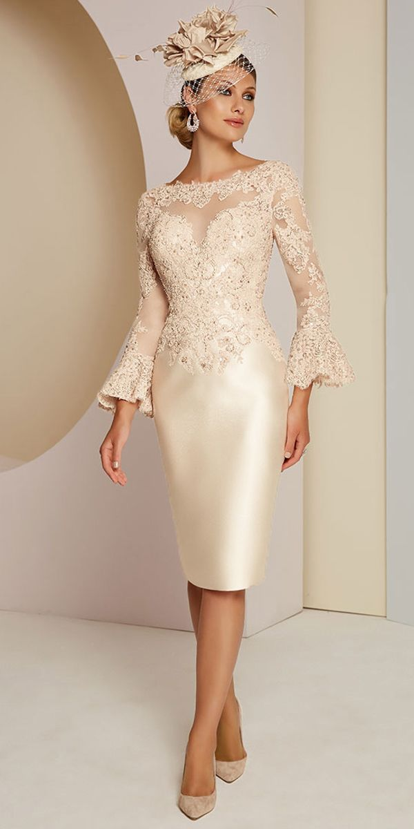 [116.99] Gorgeous Tulle & Satin Bateau Neckline Sheath/Column Mother Of The Bride Dresses With Beaded Lace Appliques