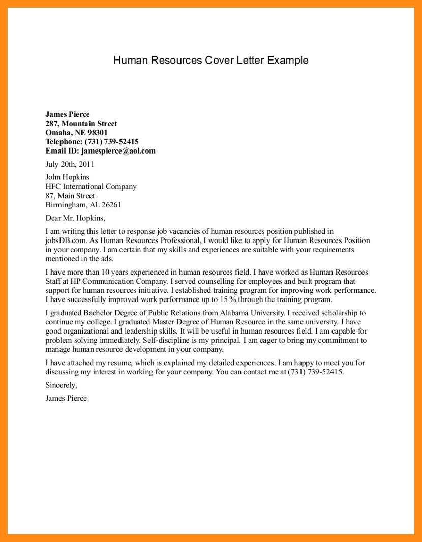 23 Human Resources Cover Letter Cover Letter For Resume Cover