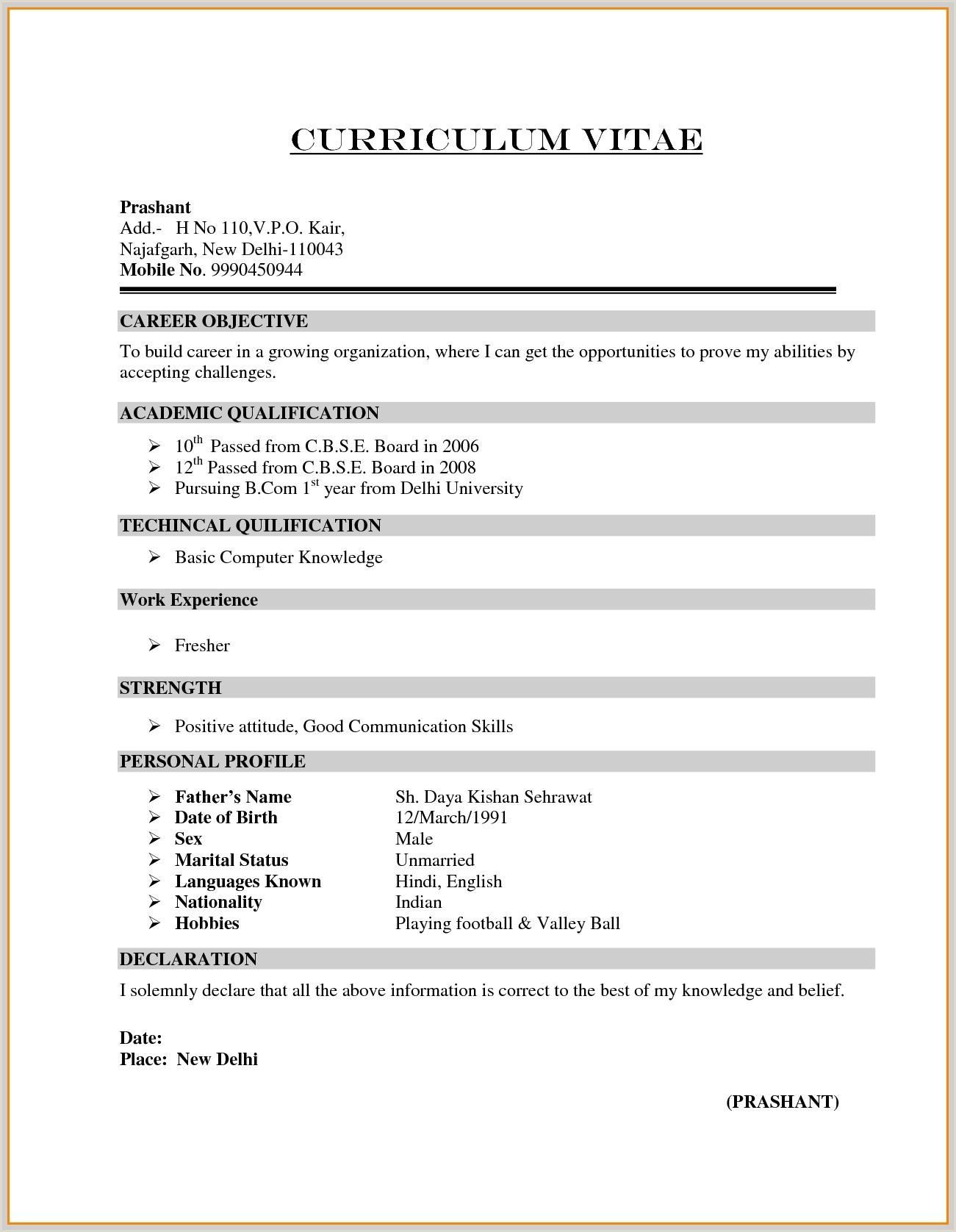 Basic Computer Knowledge Resume Format