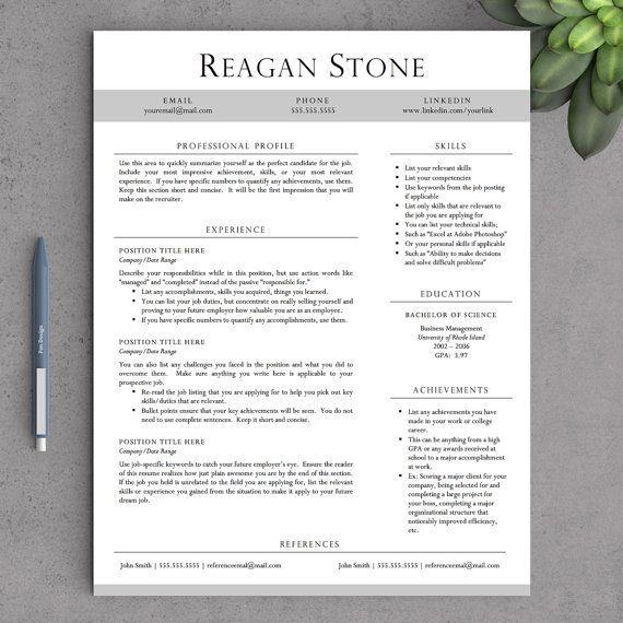 Professional Resume Template for Word and Pages (One \ Two Page - two page resume template