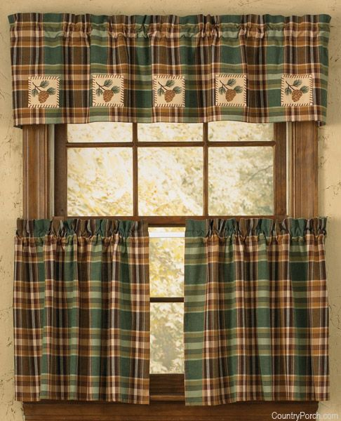 Awesome Pinecone Patch Lined Applique Curtain Valance