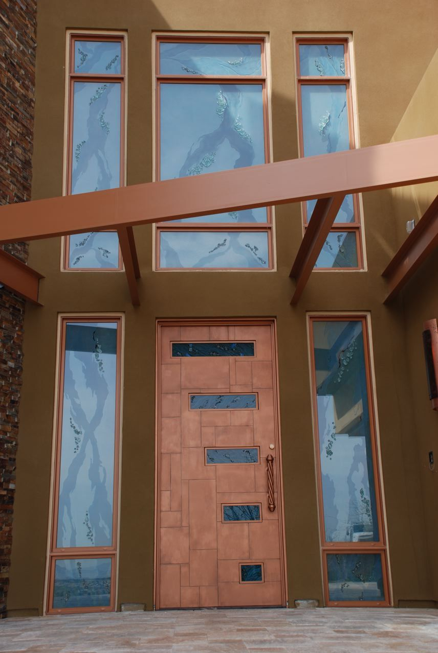 Steel door and awning with high end copper paint set off for High end doors