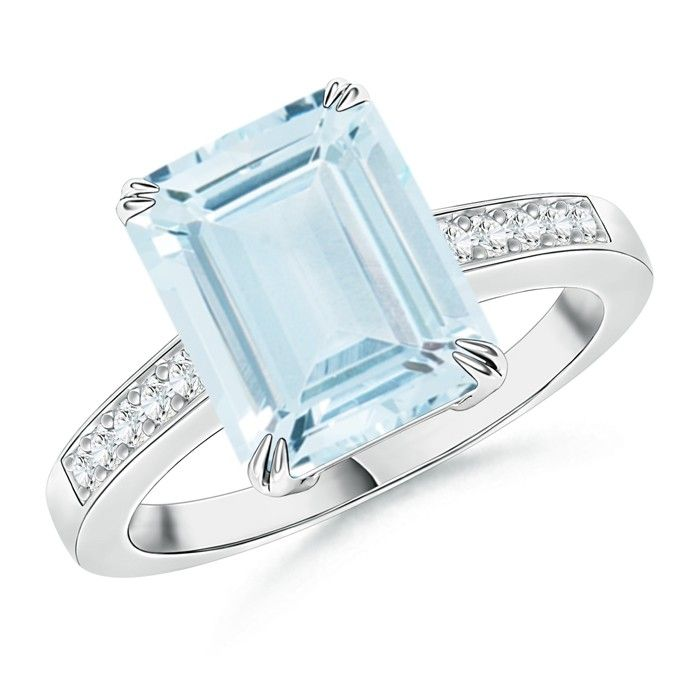 Angara Emerald Cut Aquamarine Bridal Ring Set with Diamond Band Yellow Gold oH8XnTBR