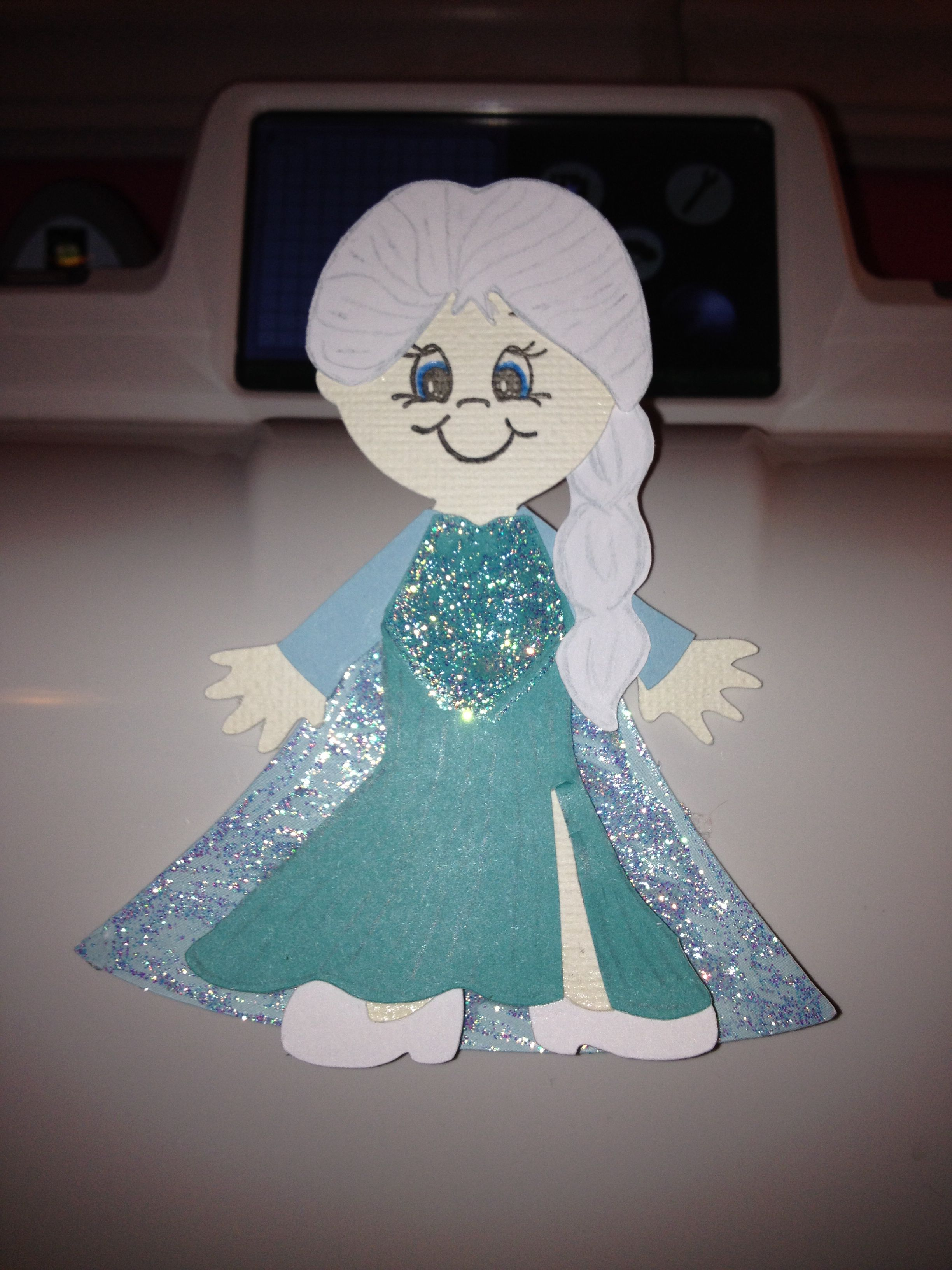 Elsa from Frozen using Cricut craft room and Paper Doll Dress Up