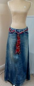 Next maxi denim size 12 skirt with scarf belt | eBay