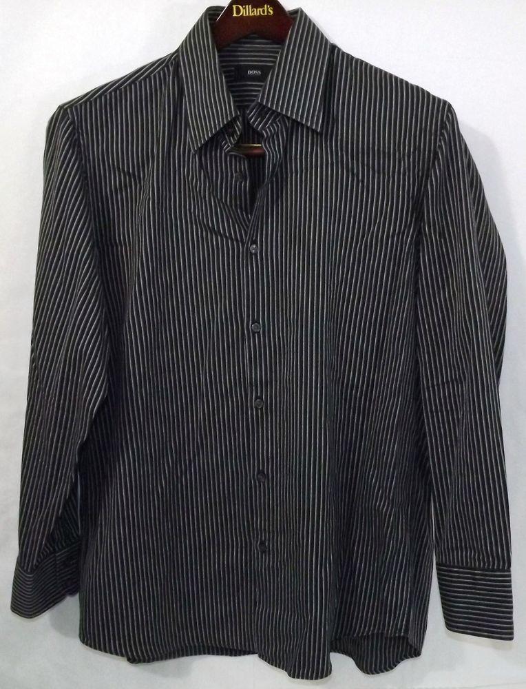 4b2475b87 LN Men's BOSS Hugo Boss 16.5 32/33 Black Striped LS Cotton Button Up Dress  Shirt