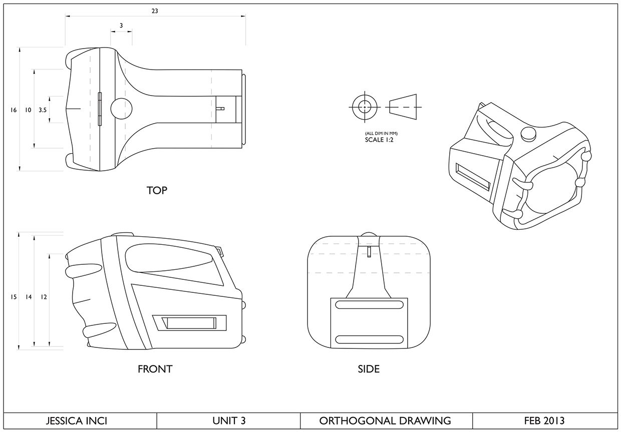 Presentation Drawing 3rd Angle Orthogonal With Isometric