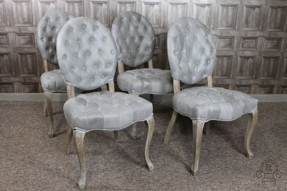 Attractive Button Back Rococo Style French Dining Room Chairs In Grey