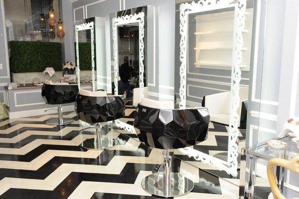Beautiful Salon Stations With Chevron Black White Floors Full