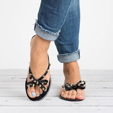 ab58d732a Women PVC Slippers Beach Rivet Bowknot Shoes