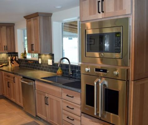 Rustic Hickory Cabinets and Monogram French Door Wall Oven | If We ...