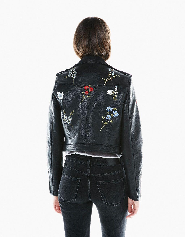 54bd9d65d52a Faux leather floral embroidered biker jacket - null - Bershka United Kingdom