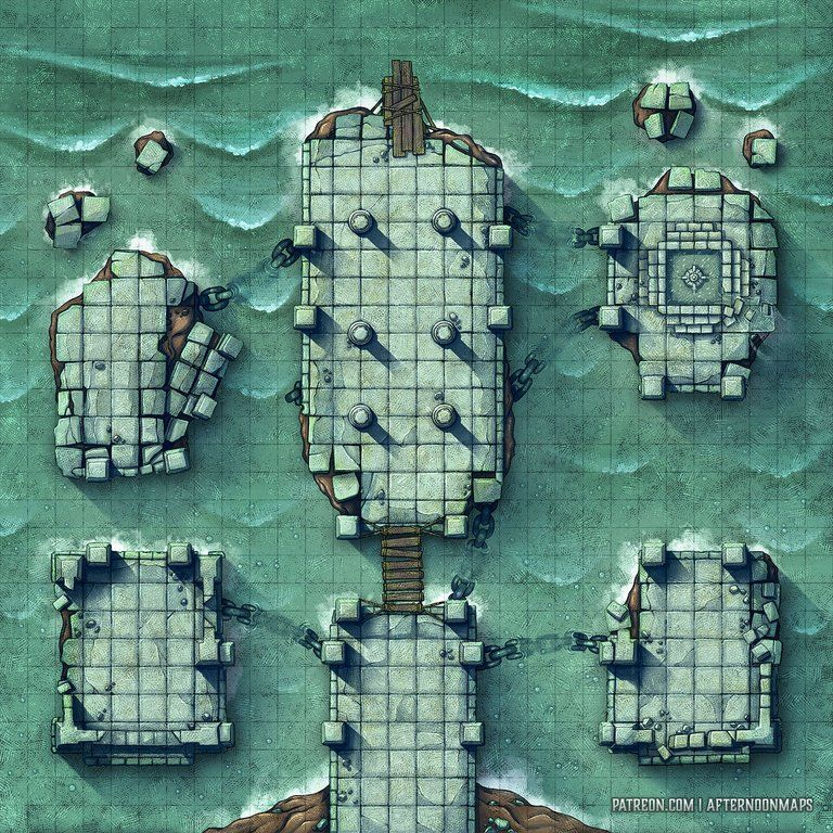 The Floating Temple, time for a Kraken? (30x30 Battle Map