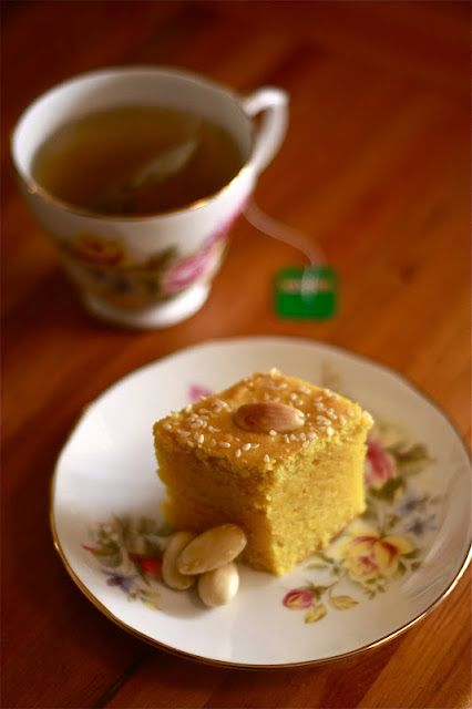 Turmeric, almond and tahini tea cake. A deliciously different way to elevate ordinary yellow cake.