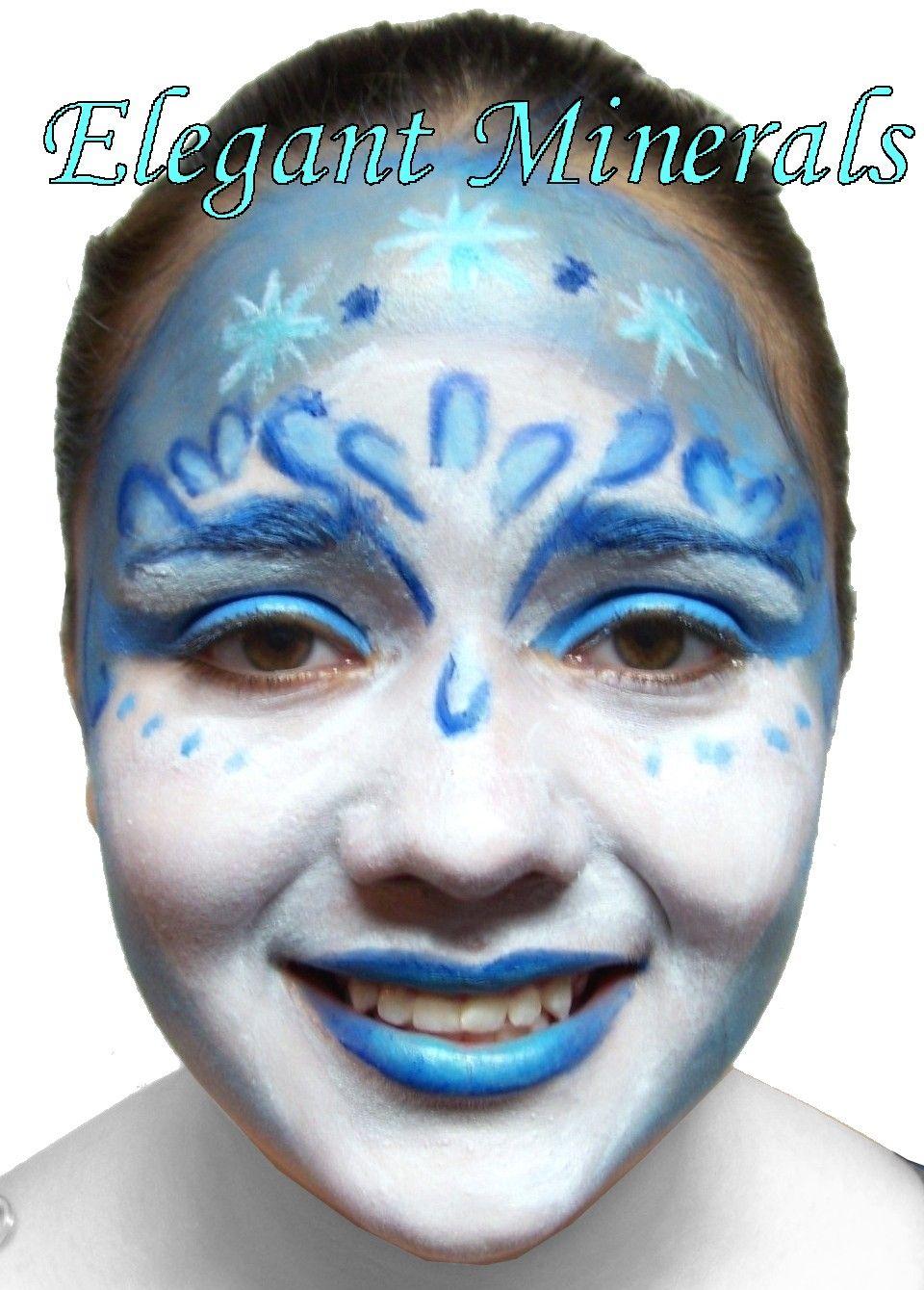 Snow Queen/ Blue Fairy natural face paint design Colors