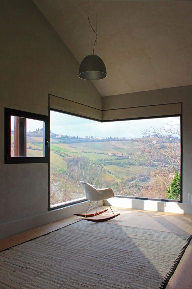 Windows as landscape frames at Picture House in Ripatransone, Italy by Barilari Architteti - I love the way that glass meets glass - it reminds me of Ditch End, the house that this board is dedicated to.