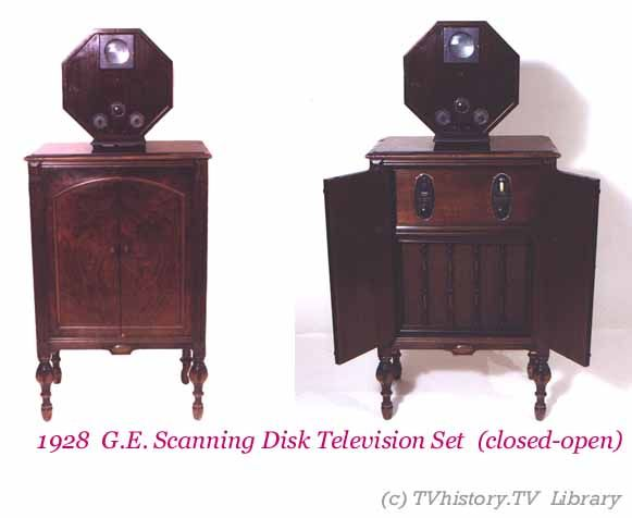 1928 GE scanning disk (mechanical) TV set - Note the very