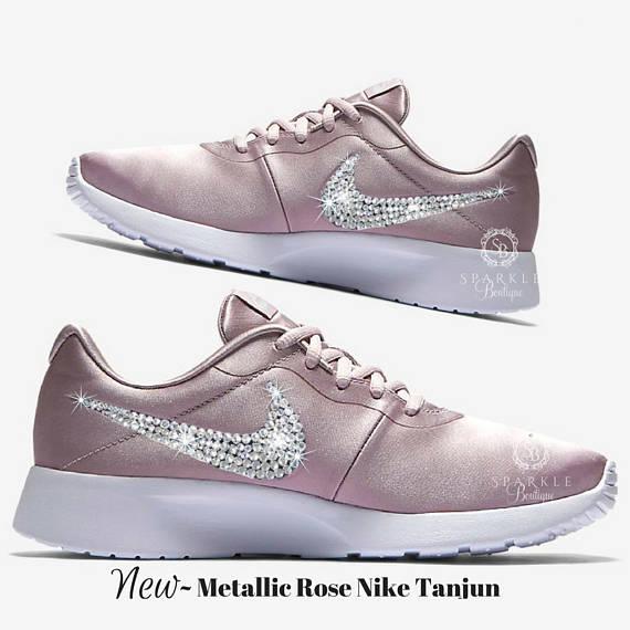 Swarovski ROSE Nike Tanjun - Women s Custom Nike - BLING Nike - Sparkly  Nikes - Crystal Nikes - Rose 3a90b359c
