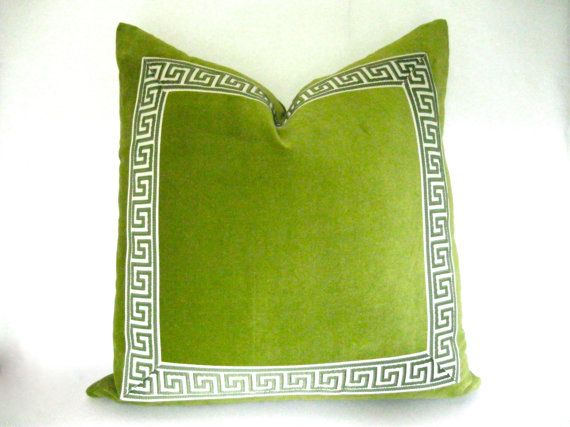 Green Pillow Cover With Black And Tan Greek Key Trim Lime