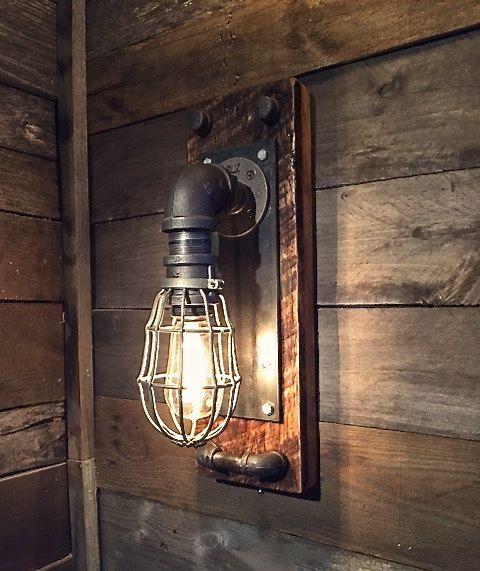 Black Iron Wall Sconce Edison Bulb Fixture Black Iron Cage Wall