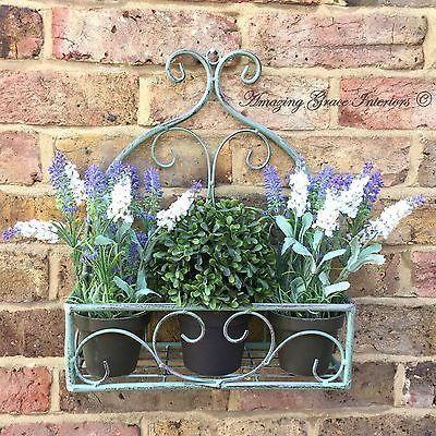 Vintage Country Style Green Metal Garden Wall Planter Hanging Basket Pot  Holder | Garden Wall Planter, Vintage Country And Planters
