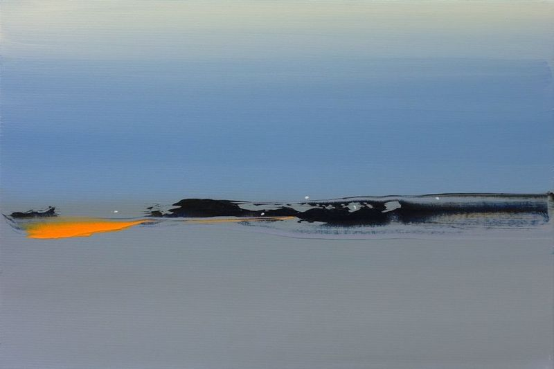 an abstract painting of a landscape: the sky is overcast, a wash of blue; the waters are gray, reflecting a brillianit blaze, golden orange, in the distance.