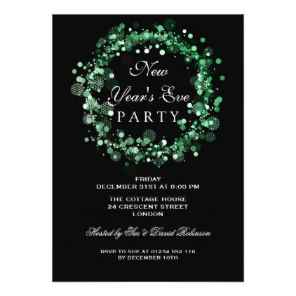New Years Eve Party Festive Wreath Green Card