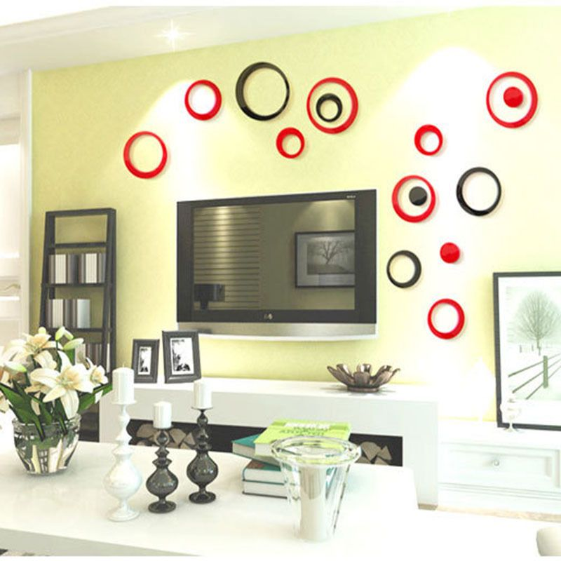 3d ring circles diy wall stickers removable vinyl mural on wall stickers 3d id=21441