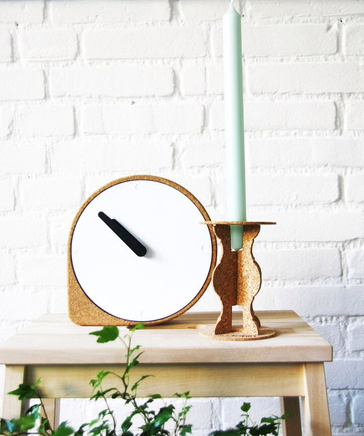 Loving this combo with the Vlam candleholder of Studio Pin and the cork clock from Puik design Picture: goodie Goodness
