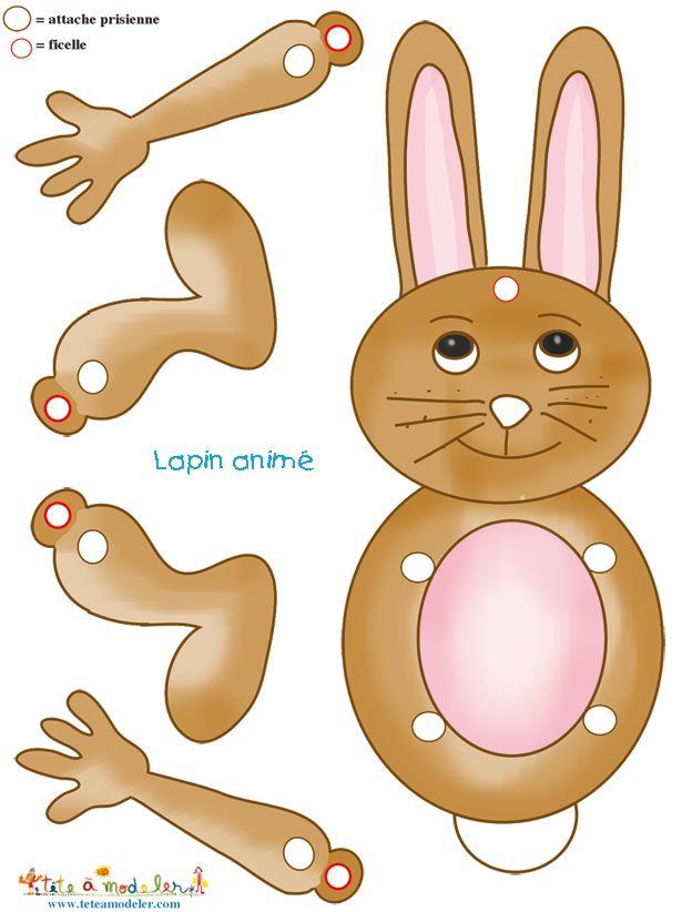 Modele de lapin anim decouper t te modeler - Tete a modeler paques ...