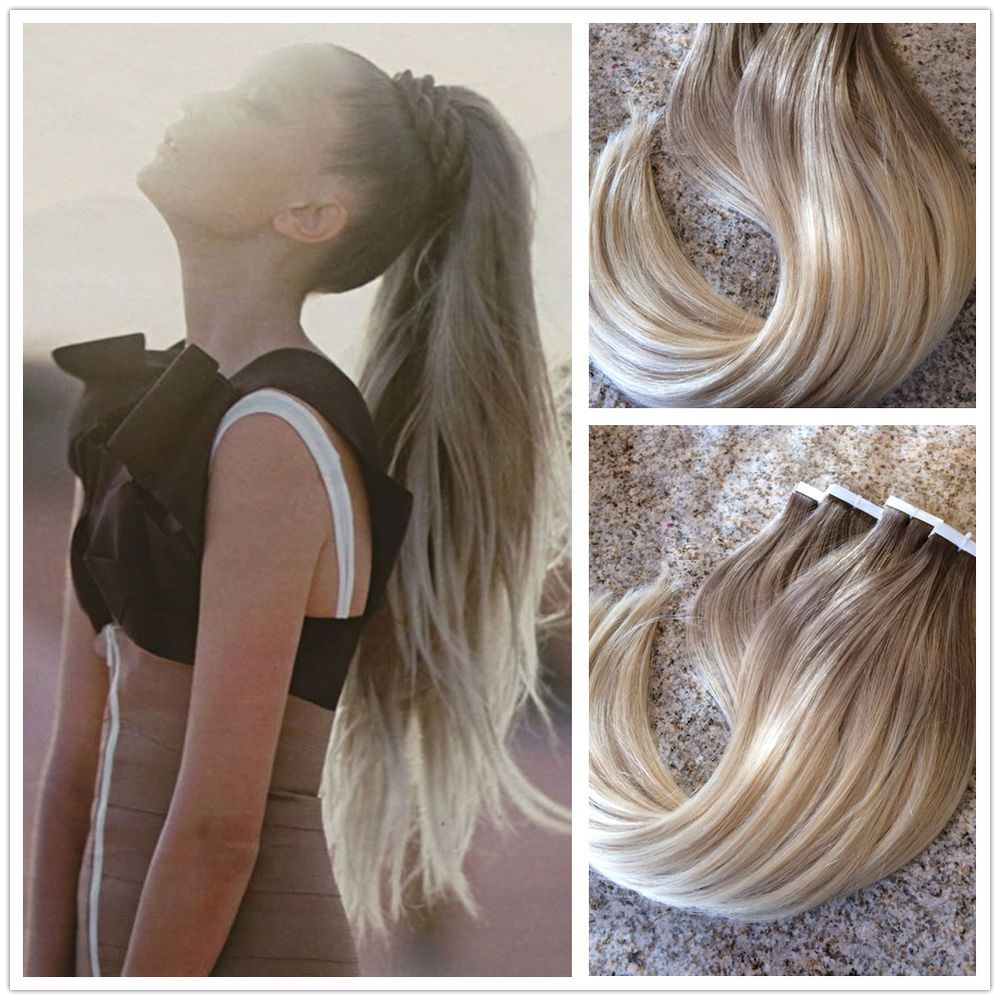 Extension Colorate Per Bambini ombre ash brown to bleach blonde remy human hair seamless