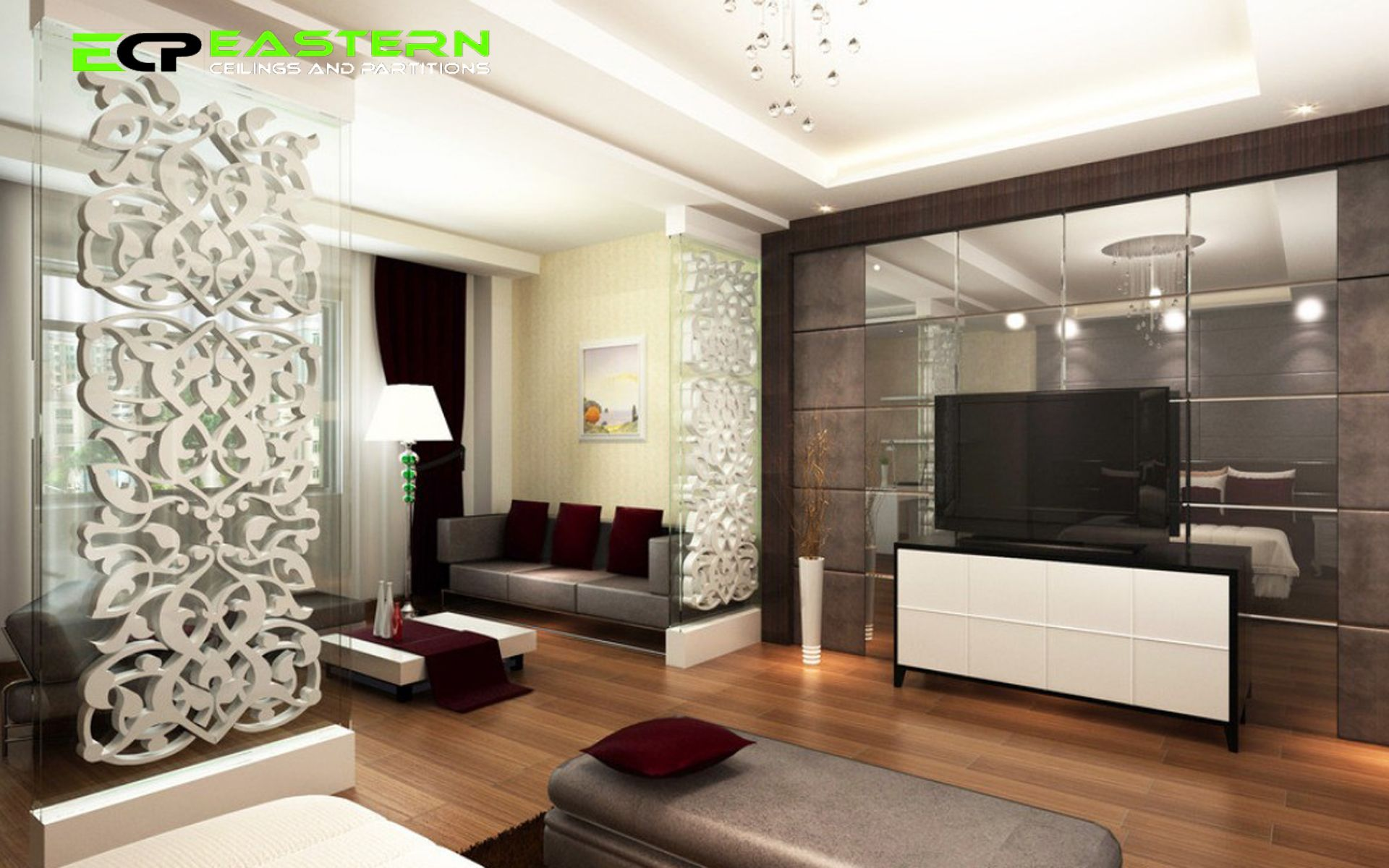 Catchy White Ornate Carved Woods Partitions Design In A Contemporary Living  Roomu2026 Part 51
