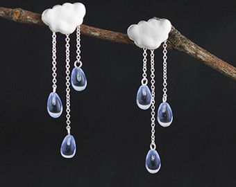 Rain Cloud Earring White Blue Raindrop Sterling Silver Crystal Women Gift For Her