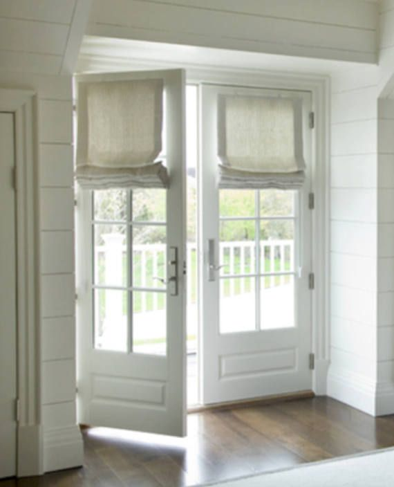 Roman shades for french doors shades for door linen natural